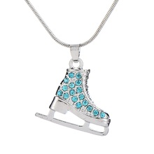 my shape Jewelry Cute Silver Plated 3D Ice Skate Skater Pink Crystal Rhinestone Pendant Necklace for Girls Teens Women(China)