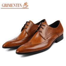 GRIMENTIN Brand business mens dress shoes genuine leather tan black Italian fashion male shoes 2017(China)