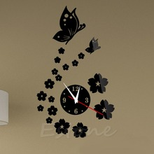 S-home   Fashion 3D Acrylic Mirror Style Butterfly Wall Clock Sticker DIY Modern Design