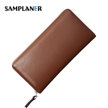 Samplaner Genuine Leather Men Purse Long Wallet Male ID Cards Clutch Bags Man Cow Leather Wallets Black Zipper Purse For Phone(China)