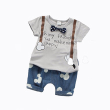2017 summer baby boys outfit print shirt+mouse pattern pant 2pcs baby boy clothes set roupa infantil newborn boy set bebek giyim