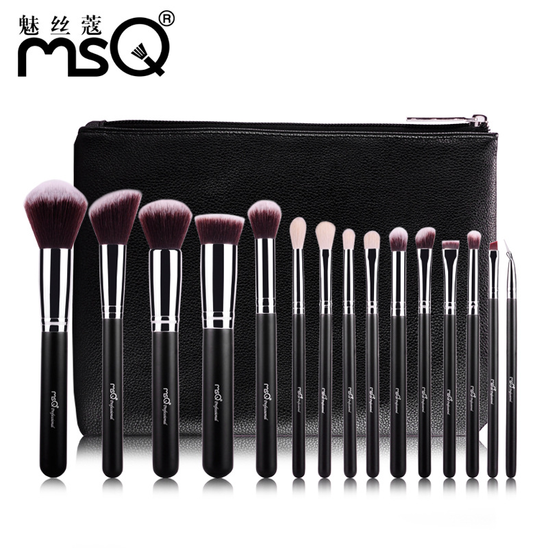MSQ 15pcs Makeup Brushes Set High Quality Synthetic Hair with PU Leather Case<br>