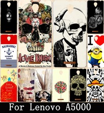 Soft TPU & Hard Plastic DIY Painted Skull Head Skull Life Painting PC Phone Case For Lenovo A5000 A 5000 Back Cover Bag Skin