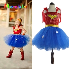 Latest Girls Wonder-Woman Tutu Dress Halloween Christmas Costume Girl Super Hero Tutu Dress  Girls Photo Prop DT-1621