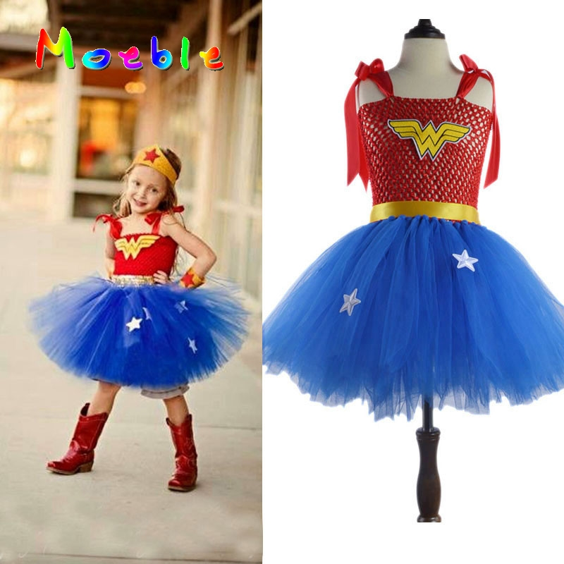 Latest Girls Wonder-Woman Tutu Dress Halloween Christmas Costume Girl Super Hero Tutu Dress Girls Photo Prop DT-1621(China (Mainland))