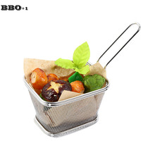 "1 PC 12.5cm/4.9"" Food Class Wire Woven Stainless steel French Fries Basket Kitchen Skimmers Chips Strainers Kitchen cooking Tool(China)"