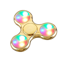 Aluminum Gold-plated LED Light Hand Spinner Fidget Spinner for Autism and ADHD Relief Focus Anxiety Stress Gift Toys