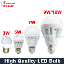 High quality 3W 5W 7W 9W 12W LED Bulb LED light lamp lighting 220V ultra bright Warm white Cold white free shipping