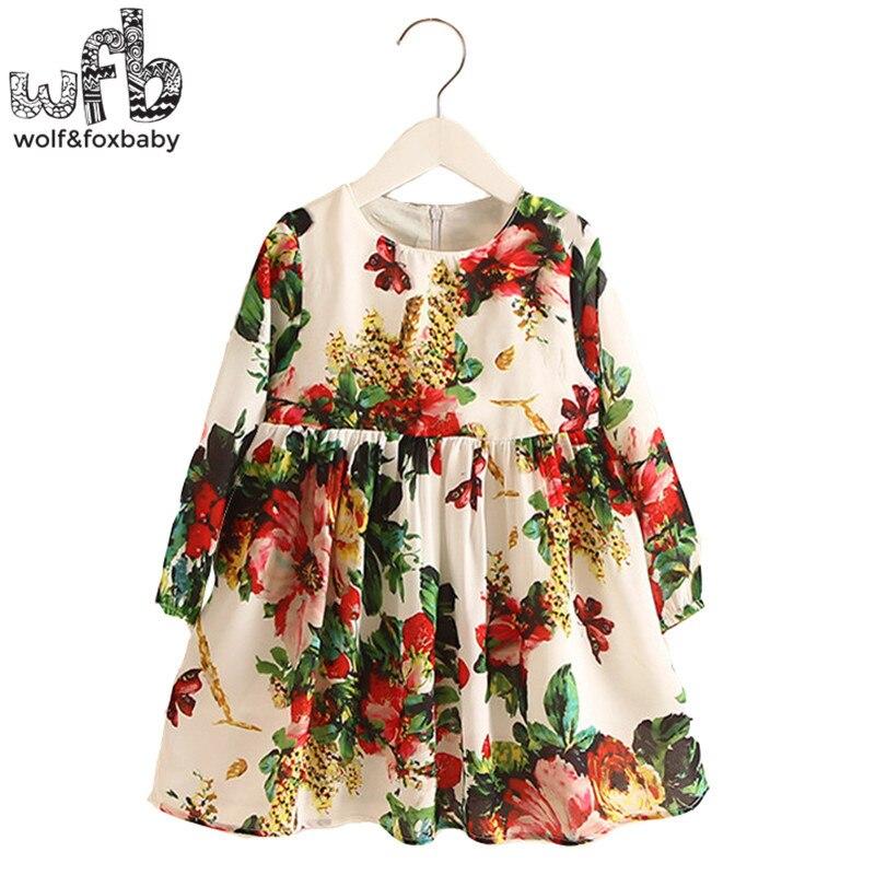 Retail 2-8 Milan Princess Dress Flax Long Sleeve Clothing Baby Girl Cute Korean Floral Print Spring fall<br><br>Aliexpress