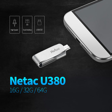 Netac U380 16G 32G 64G USB3.0 Dual Interface For Android Phone and PC High Speed Mini Flash Drive Memory Stick USB Flash Drives(China)