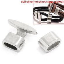 "8SEASONS Bracelet End Bar Clasps With Slider For Leather Bracelet ""T"" Shape Silver Tone Color 23x18mm 13.5x8.5mm,5 Sets (B25462)(China)"
