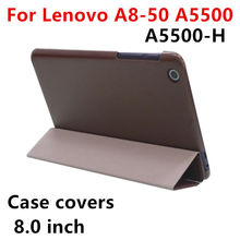Case Cover Lenovo A5500 Protective Protector Smart covers Leather Tablet Idea Tab A8-50 a5500 A5500-H Cases PU Sleeve 8.0""