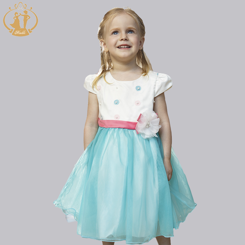 Cutely  Kid Girls Dress Summer Flower Dot  Wedding Princess Party  Baby Clothes Handmade Pearls Bow Girls Dress<br><br>Aliexpress