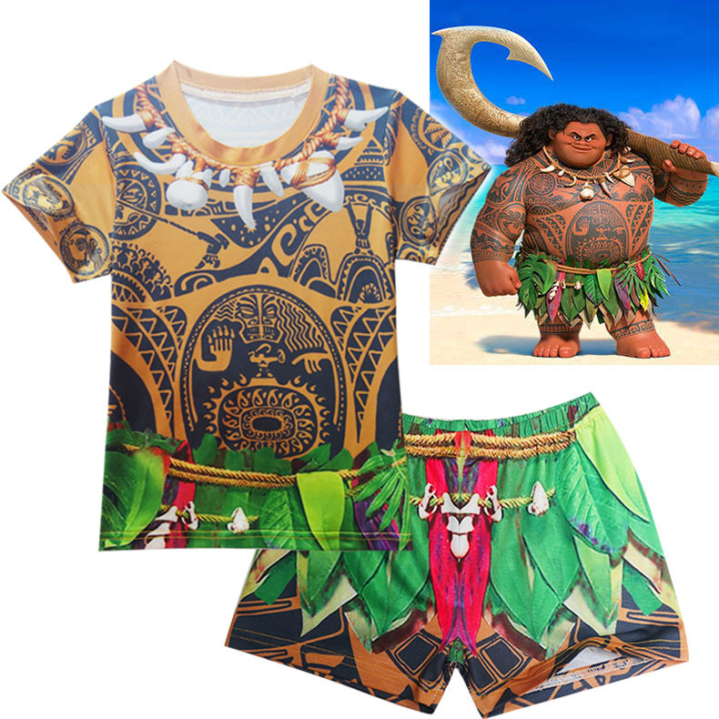 Moana Maui Costume Clothing Casual Boy Set TShirts+Short Pants Outfit Size 5-10