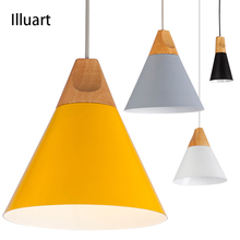 Pendant Lights Dining Room Pendant Lamps Modern chandelier Ceiling Colorful Restaurant Coffee Bedroom Lighting Iron+Solid Wood(China)