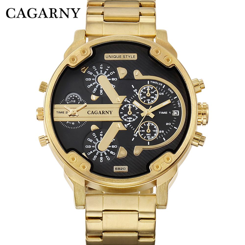 Cagarny Watches Men Fashion Quartz Wristwatches Cool Big Case Golden Steel Watchband Military Relogio Masculino Diesel Style dz