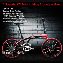 "New 7 Speeds 22"" Folding Bike 10/32 Spokes Aluminium Alloy Bearing Hub KENDATire Travel Bike Folding Bicycle Bicicleta City Bike"