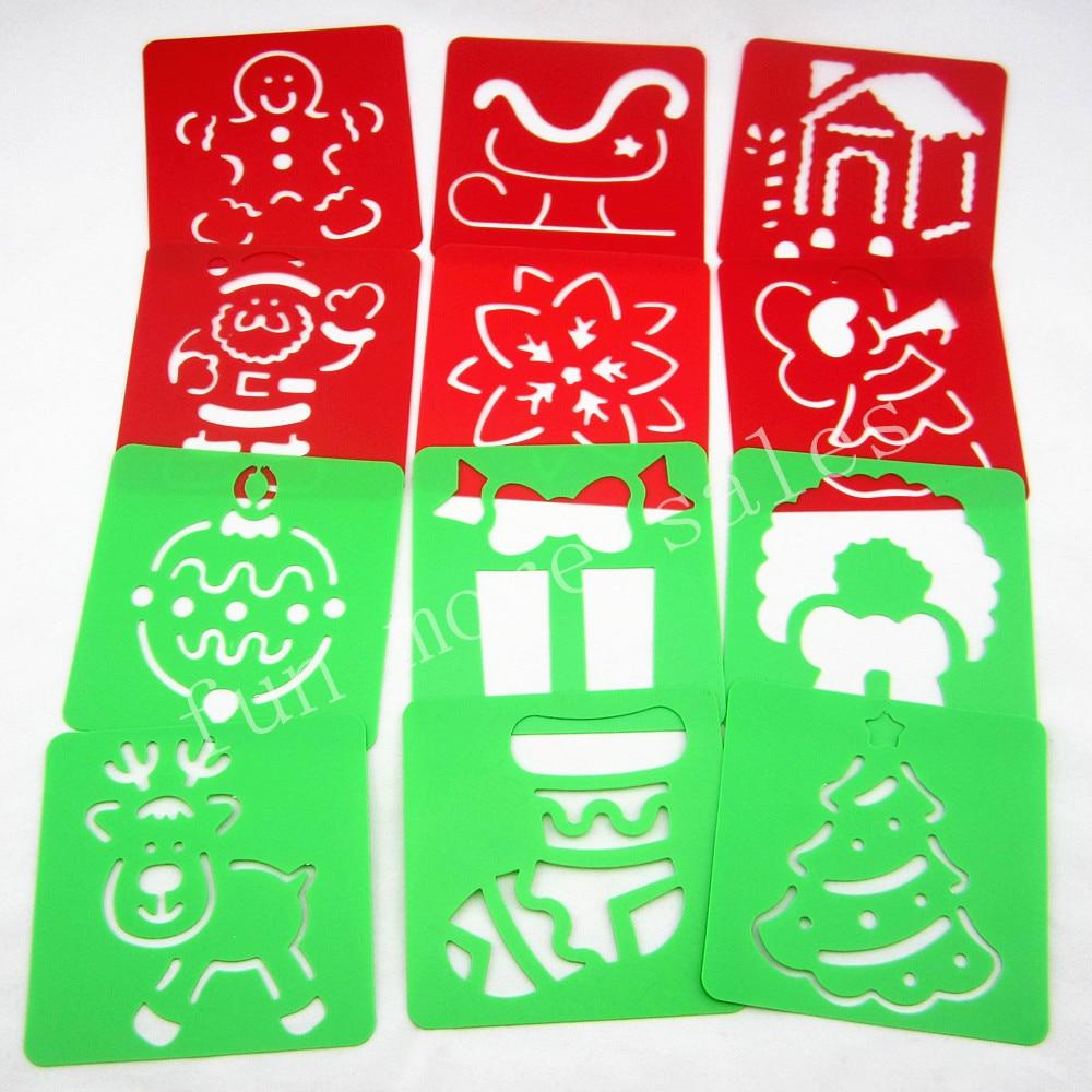 12 конструкций трафареты рождество дети рисунок шаблоны пластик x'mas живопись доски поделок детей младенца hot развивающие игрушки 128 мм(China)