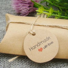 1.18*1.18inch 100pcs  round shape kraft  paper handmade with love custom product hang tag garment price name brand tag tag