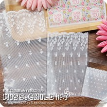 100pcs White Lace Self adhesive Seal OPP Cookie Baking Plastic Packaging Bag Wedding Decoration Gift and Candy Plastic Bag BZ001