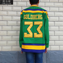 MeiLunNa Christmas Black Friday Mighty Ducks Movie Jerseys #33 Greg Goldberg Jersey 3301 Green Ice Hockey(China)