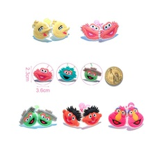 3-4Pairs Cartoon Sesame Street Girls' Hairbands Baby Girls Kids Headwear Accessories PVC+Elastic Bands Party Gifts Hair Jewelry
