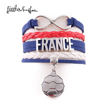 Little Minglou Infinity charm 2018 France bracelet soccer charm leather wrap men bracelets & bangles for women jewelry(China)