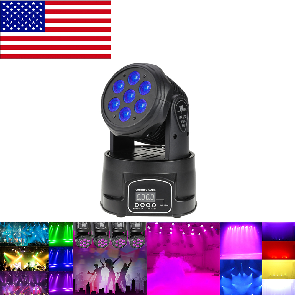 Professional RGBW Mixing Color DMX-512 Mini Moving Head Light 7 LED Disco Light Dj Equipment Dmx Led Lighting Strobe Stage Light(China)
