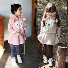 baby girls clothing sets winter children's wear tracksuits Cubs hooded jacket+Culottes kids clothes Plus thick velvet suit