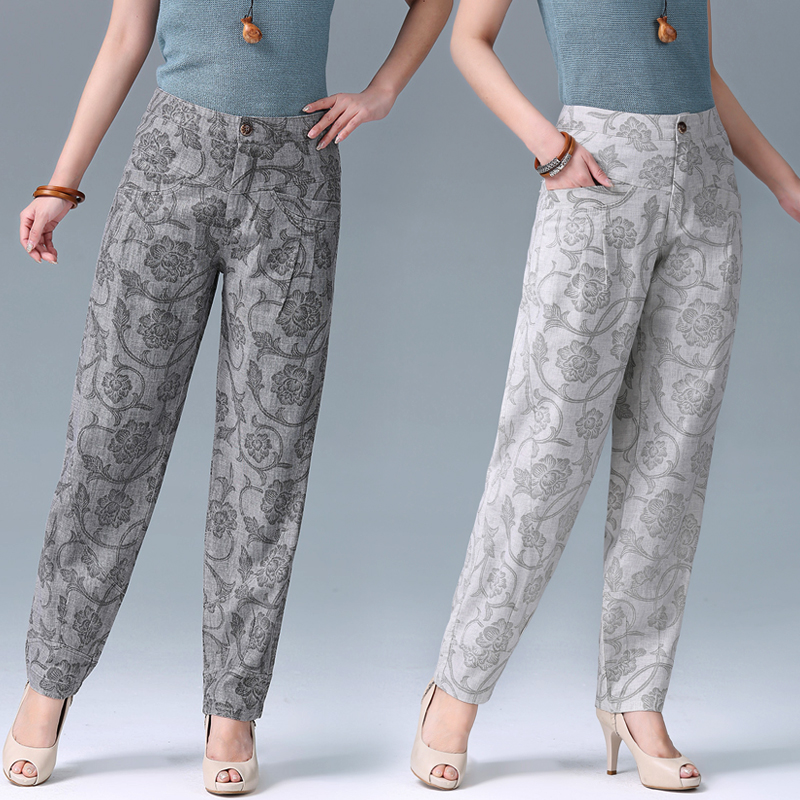 2018 spring and summer new women's high waist casual lantern pants thin section cotton and linen pants large size carrot pants