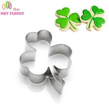 if dream peach 1pcs Lucky Clover Shaped Fondant Molds Stainless Steel Fondant Cutter Tools Kitchen Bakeware Supplies(China)