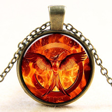 2015 New Vintage Jewelry Phoenix Badge Necklace 3D Pendant Fashion Charming Ethnic Necklace For Men Women Red Fire Glass Jewelry