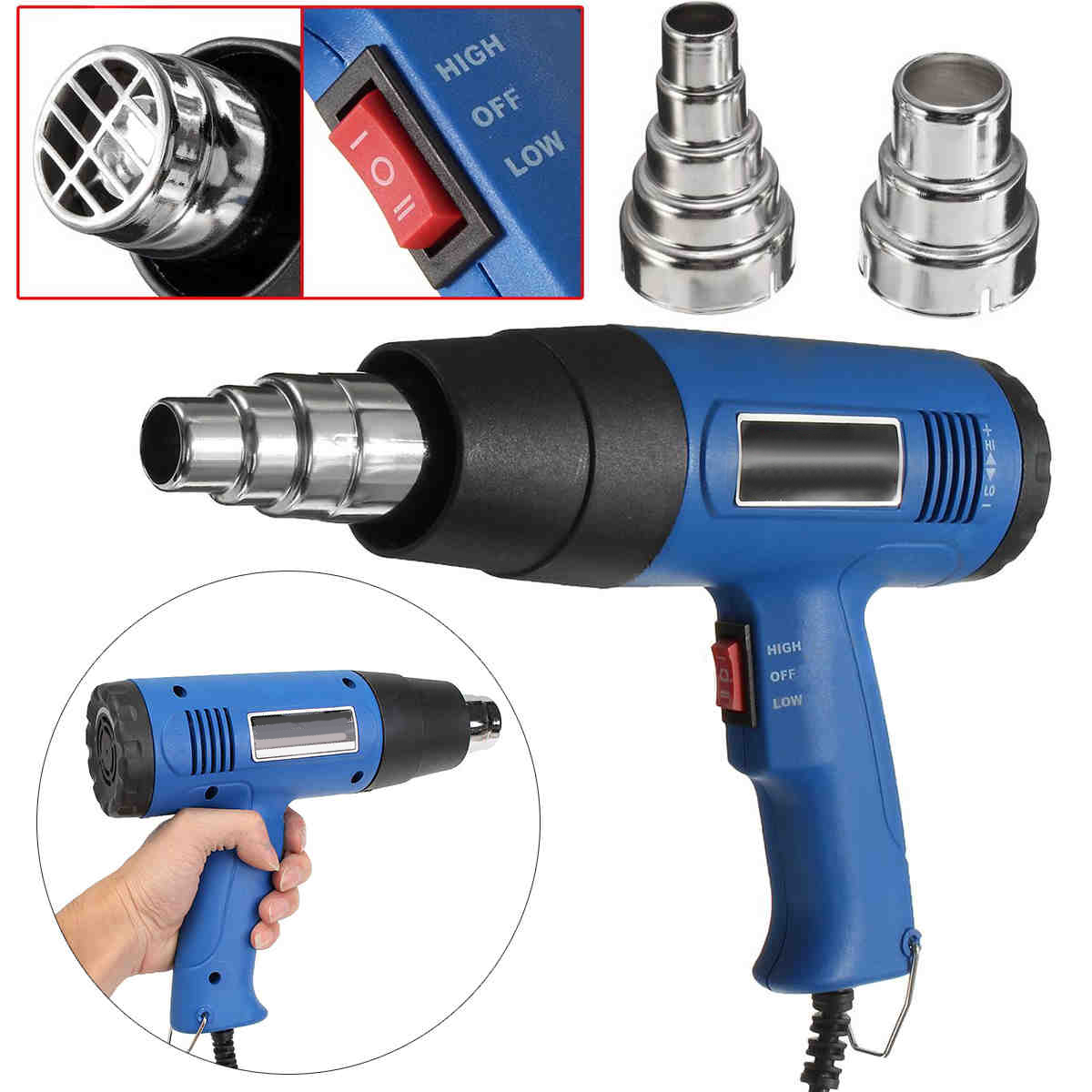 OSSIEAO New Hot Air Heat Blower 1800W 600 Degrees Celsius Paint Drying Striping Tool &amp; 2 Nozzles Blue<br>