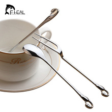 FHEAL Creative Kitchen Dining Bar Swan Dinnerware Spoons Forks Alloy Silver Coffee Spoon Two Teeth Fruit Dessert Forks Flatware