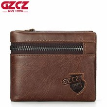 GZCZ Genuine Leather Men Wallet Luxury Brand Male Walet For Man Vintage Style High Quality Small Clamp For Money Coin Pocket(China)