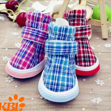 Small Dog Shoes Plaid Pet Shoes for Dogs Cats Spring And Autumn Boots Skidproof Cat Shoes 4pcs/set Red,Blue,Pink 1067