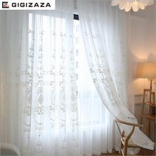 GIGIZAZA Mr John white jaquard voile curtains for livingroom rod pocket tulle drape transparent window sheer  process  size