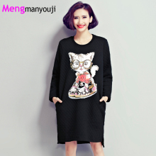 Mengmanyouji Women Knitted Cotton Dress Cat Kitten Cartoon Pattern Long Sleeve Fashion Casual Loose Dresses Plus Size PINK BLACK