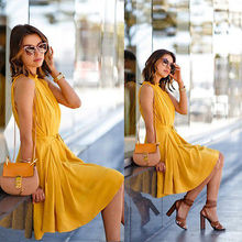 2016 Fashion Sexy Women Summer Off-Shoulder Casual Sleeveless Dresses Hot Sale Short Mini Dress Yellow Color
