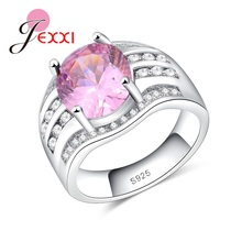 JEXXI Best Christmas Gift Sweet Beautiful Light Pink Crystal Promise 925 Sterling Silver Finger Rings princess bride jewelry(China)