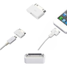 For iPhone 4S 30 pin Cable Connector to Micro USB charger Adapter For ipod ipad 2 iPhone 4 4G 4S 3GS cable Adapter
