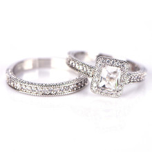 Fashion Double Halo Finger Ring Princess White Zircon Engagement Jewelry For Women Gift(China)