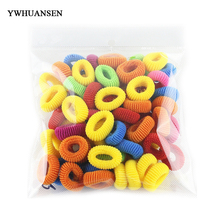 YWHUANSEN 96-104pcs/lot Wholesale little girls hair bands elastic hair circle Fashion ponytail holder hair accessories scrunchy