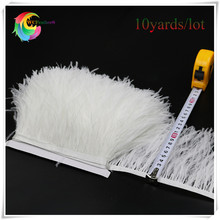 hot sale 10 yards long bleached white ostrich feather trims fringe with satin ribbon real ostrich feather plumas trimming(China)