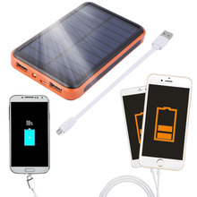 2016 Newest 12000mAh Waterproof Portable Solar Power Bank Dual USB Solar Charger for cell phone