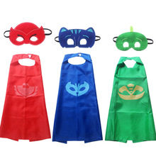 2017 New pjmasks  2pcs/set PJ Masks Role-play cloak Cape and Mask Owlette Catboy Gecko Cosplay Action Toys For Children