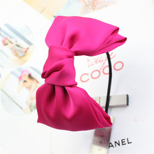 Wholsale Fashion Hair Accessory Black Hair Bands Large Ribbon Korean Hair Bow Headband For Women Free Shipping(China)