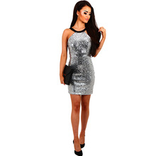 2017 Women Summer Gold and Silver 2 Colors Bodycon Party Night Club Sequins Dress Backless Mujer Vestidos De Festa Robe Femme