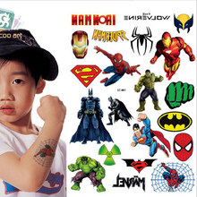 2017 Sale Lc-881 /hot Children's Temporary Body Art Tattoos Fake Batman Spider/hulk/ Superman Cartoon Tattoo Sticker For Kids(China)