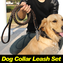 Genuine Leather Meidum Large Big Dog Leash Collar Set Necklace Chain Strong Dog Lead Rope Labrador Golden Retriever Products